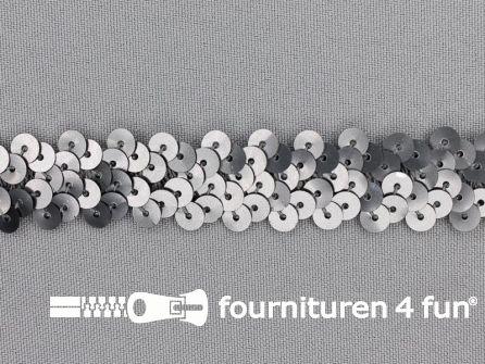 Elastische pailletten band 20mm mat zilver grijs