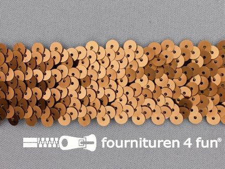 Elastische pailletten band 36mm mat bruin