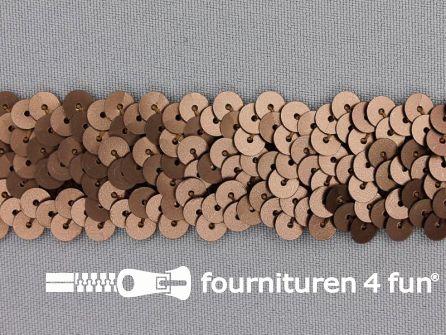 Elastische pailletten band 30mm mat bruin