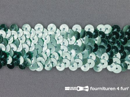 Elastische pailletten band 30mm mint groen