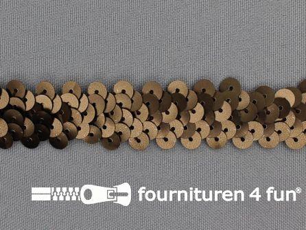Elastische pailletten band 20mm mat bruin