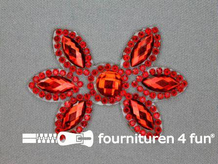 Strass decoratie opstrijkbaar 60x42mm rood