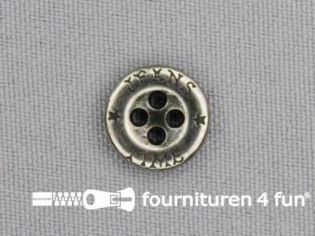 Zilveren knoop 13mm 'Jeans Time'