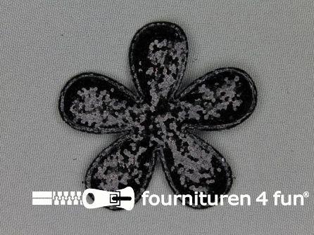 Pailletten applicatie 60x60mm zwart bloemvormig kussentje