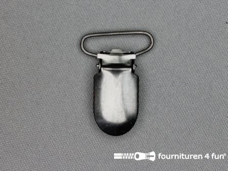 Bretelclips 25mm zwart zilver