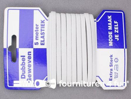 Dubbel geweven elastiek 5mm wit 5 meter