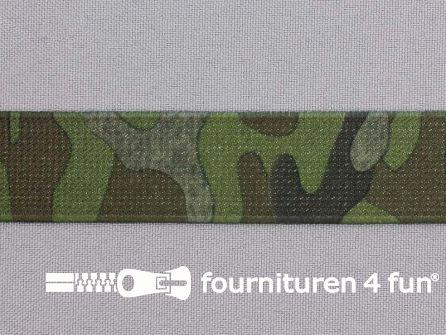 Elastiek met legerprint 25mm legergroen - bruin - zwart