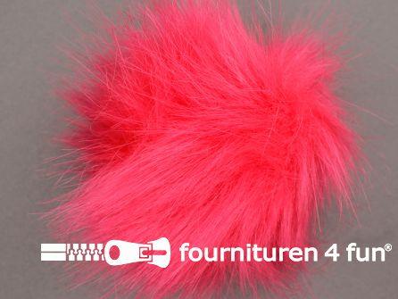 Bont pompon 12cm koraal rood