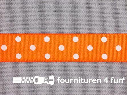 Bolletjes lint 15mm neon oranje