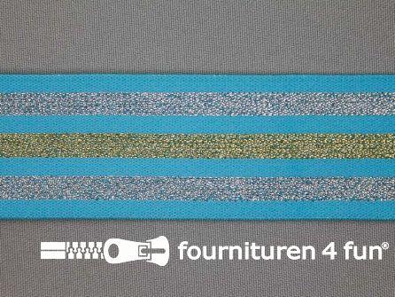 Elastiek met goud en zilver strepen aqua blauw 40mm