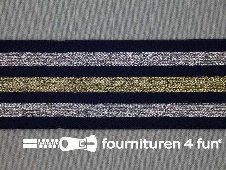 Elastiek met goud en zilver strepen marine blauw 40mm