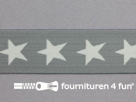 Elastiek met sterren 40mm licht grijs