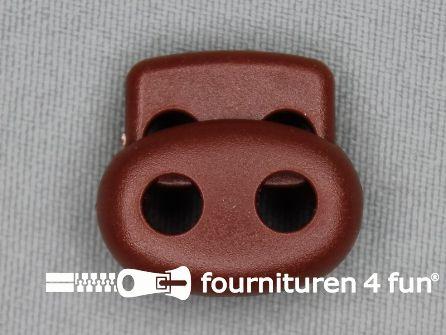Koord stopper 22mm dubbel rood bruin