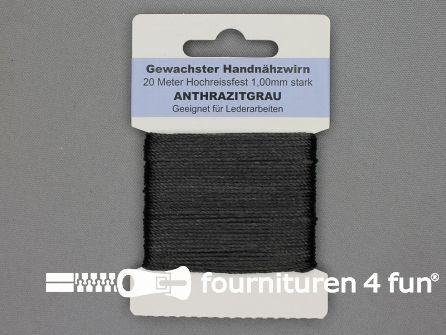 Waxgaren antraciet grijs 20 meter