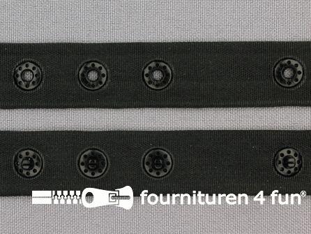 Rol 25 meter drukknopen band 18mm zwart