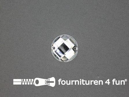 10 stuks Strass stenen rond 14mm zilver