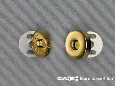 Magneet knopen 18mm buig goud per stuk