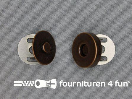 Magneet knopen 18mm buig rood brons per stuk