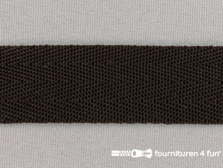 Soepel tassenband 25mm donker bruin