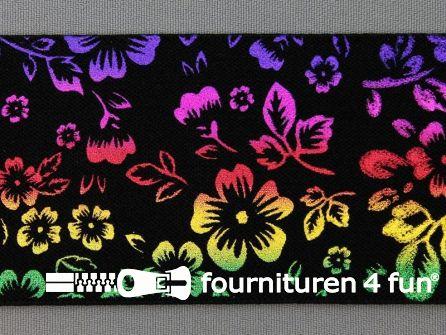 Elastiek multicolor regenboog bloemen
