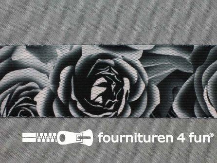 Elastiek met grote roos 40mm zwart - grijs - roze
