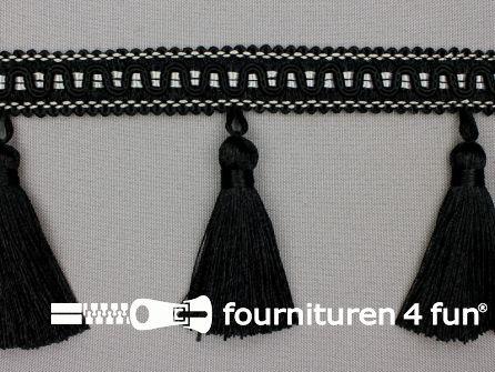 Viscose franje 95mm kwasten zwart - grijs