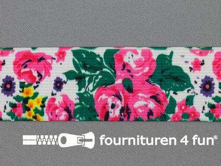 Elastiek met grote bloemen 40mm multicolor