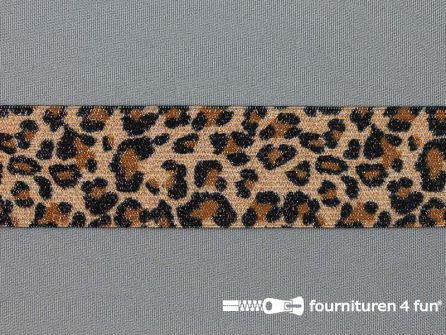 Elastiek met luipaardmotief 35mm zwart - bruin - zilver