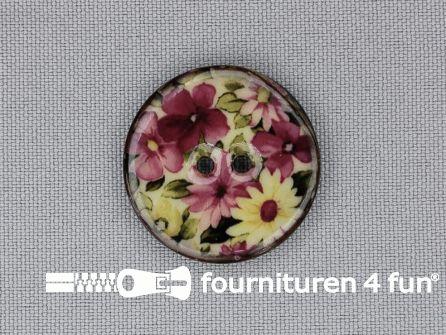 Kokos knoop 28mm bloemen roze - groen