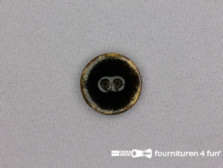 Kokos knoop 22mm zwart glitter