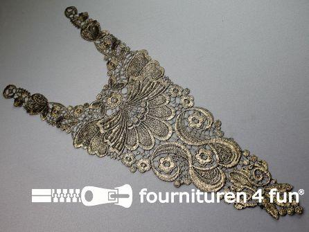 Opzet stuk voor hals / kraag  zwart goud bloem 200x500mm