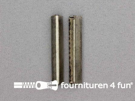 Eindstuk voor tassenband of riem 48mm oud zilver