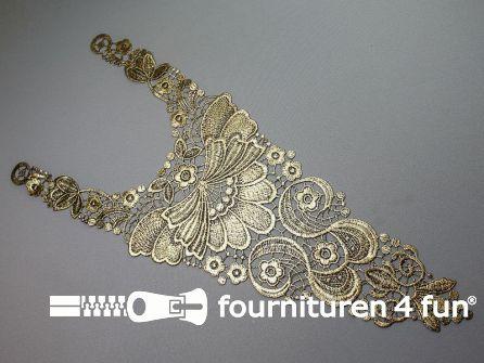 Opzet stuk voor hals / kraag  zwart licht goud bloem 200x500mm