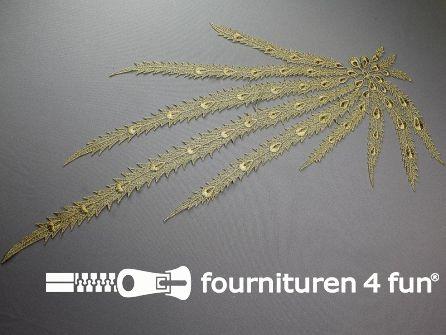 Opzet stuk voor hals / kraag bloem goud 600x260mm