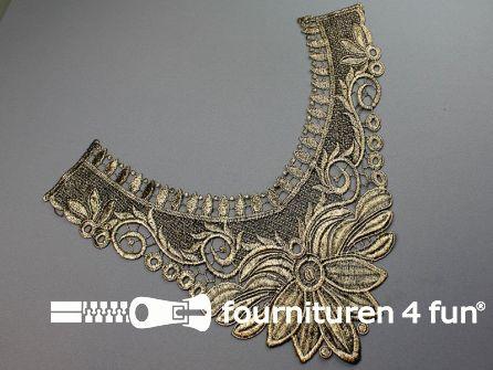 Opzet stuk voor hals / kraag  zwart goud bloem 370x310mm