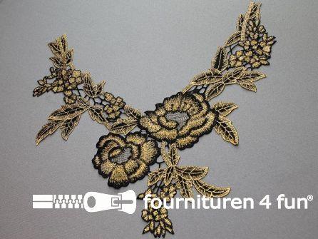 Opzet stuk voor hals / kraag  zwart goud bloem 320x280mm