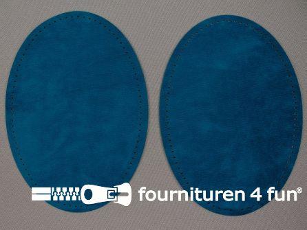 Elleboogstukken / kniestukken suèdine 140x100mm petrol blauw