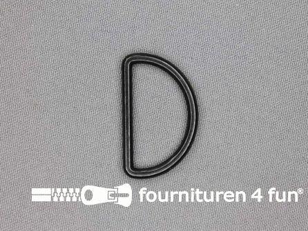 D-ring 30mm donker zwart zilver rond