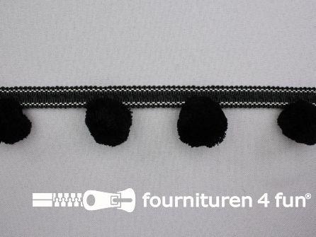 Sierband met pompons zwart - grijs