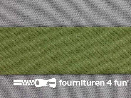 Rol 25 meter katoenen biasband 30mm leger groen