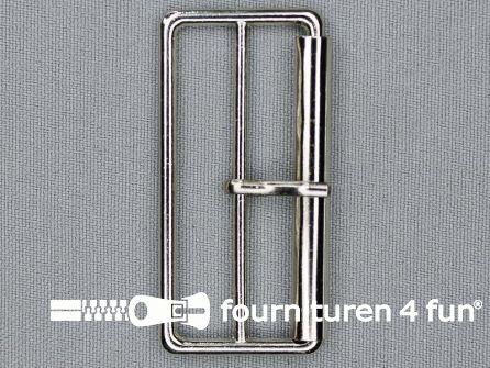 Metalen rolgesp 50mm zilver dubbel smal