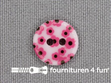 Kinder knoop 12mm bloem wit - roze