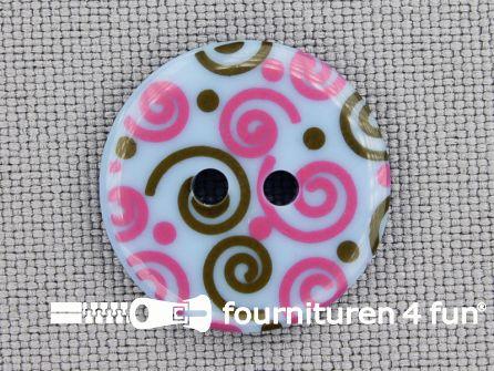 Kinder knoop 18mm krul roze - bruin - blauw