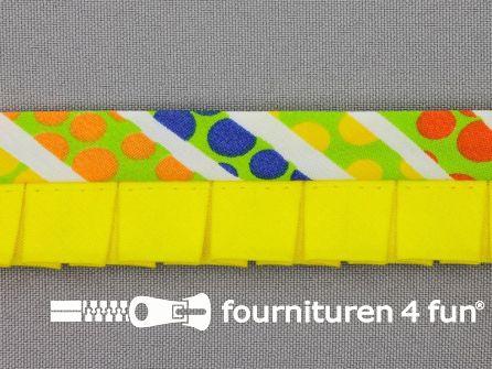 Retro plissé biasband 30mm multicolor - geel