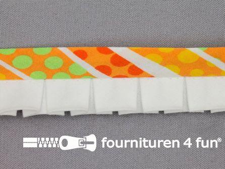 Retro plissé biasband 30mm multicolor - wit