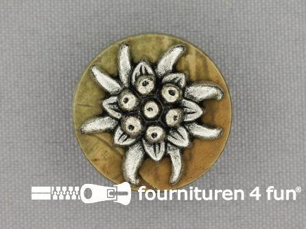 Landhuis knoop 25mm hoorn edelweiss