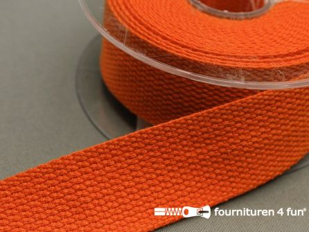 Katoen-look tassenband 32mm rol 5 meter oranje
