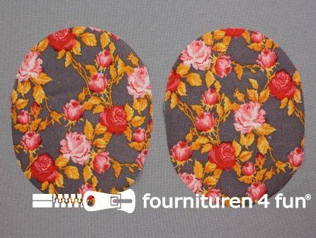 Kniestukken bloemen - roze - oranje - grijs
