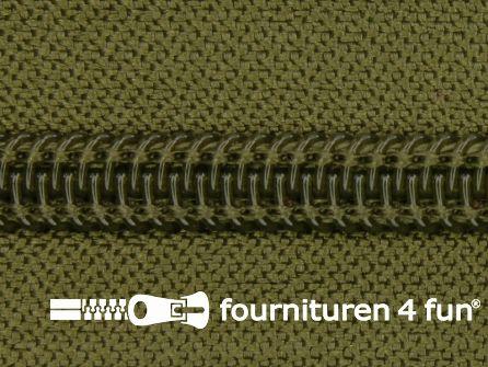 Deelbare spiraal rits nylon 5mm leger groen