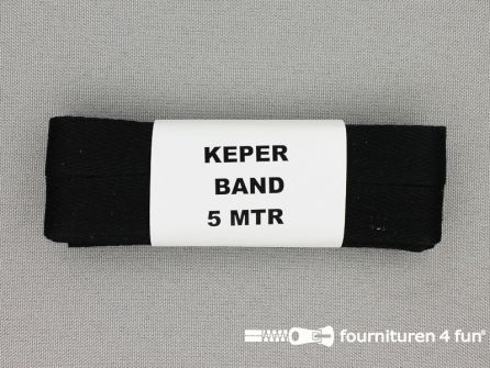 Bosje 5 meter keperband 14/15mm zwart